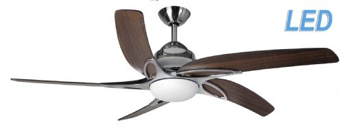 "Fantasia Elite Viper Plus 54"" Sta' Steel + Dark Oak Blades Ceiling Fan + Remote +  LED Light 116103"
